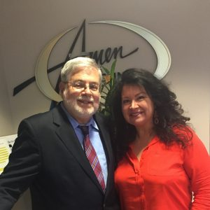 Dr. Raphael Stricker M.D. and Deb Gutierrez at his Lyme disease presentation on July 20, 2016 at the Amen Clinic.